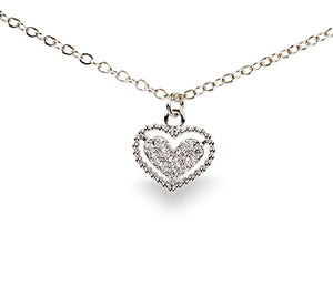 "15"" Crystal Heart Necklace-4868"