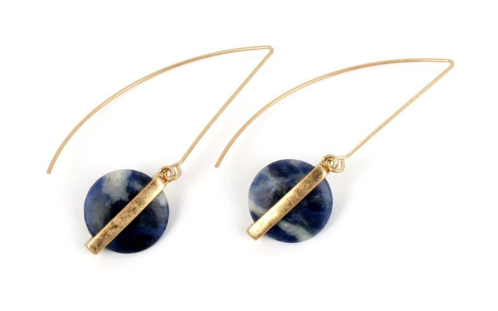 Blue Wire Drop Earrings-9925