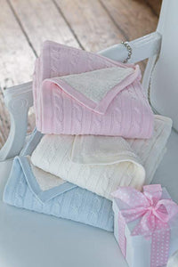 Elegant Baby Cable Knit Fur Back Blankets