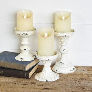 White Tin Candle Stands-Set of 3