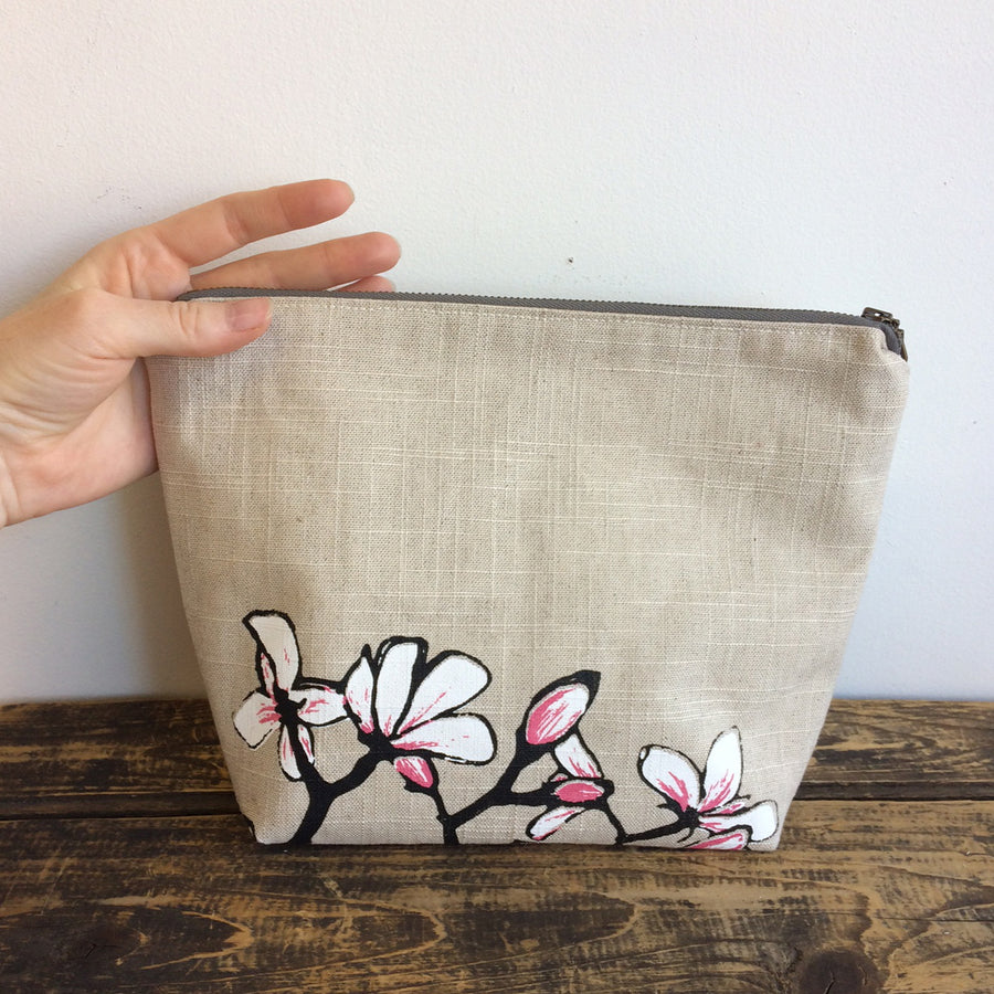 Slate Blue Travel Pouch Pussy Willows