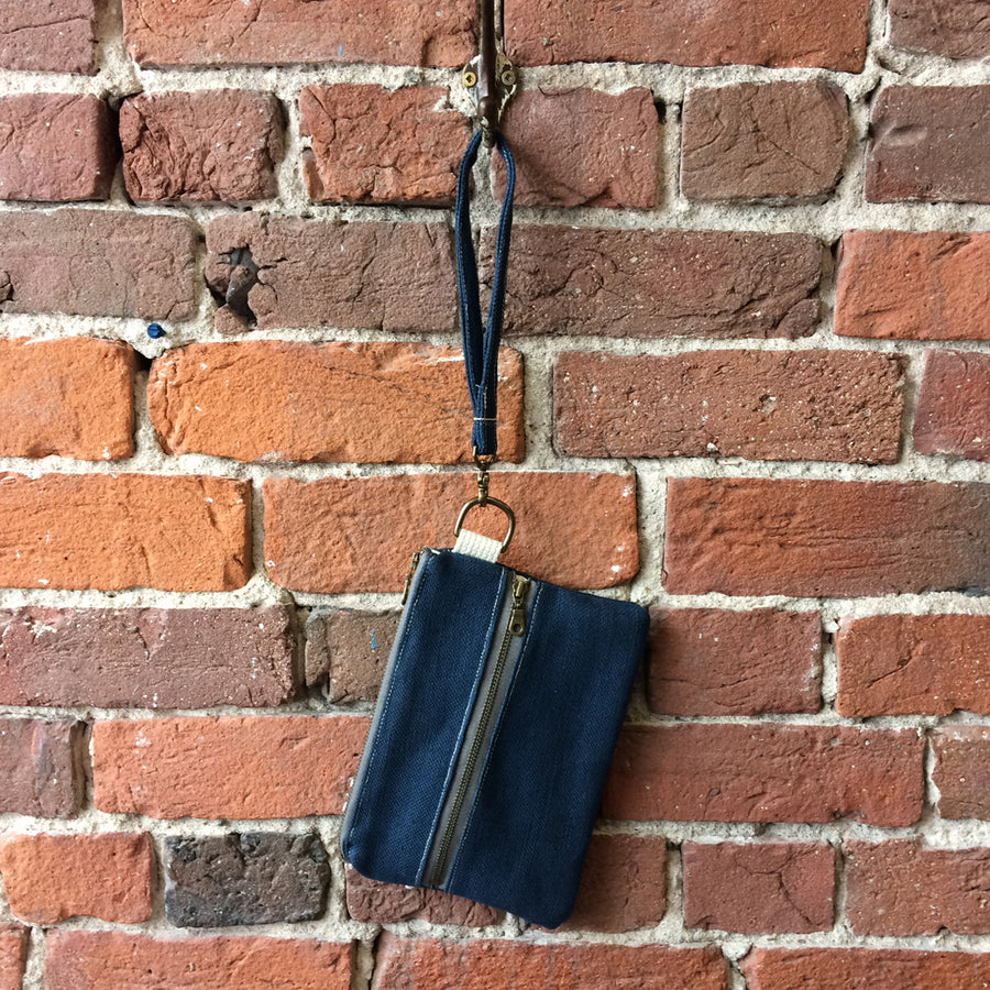 Casual Clutch Navy Blue Linen