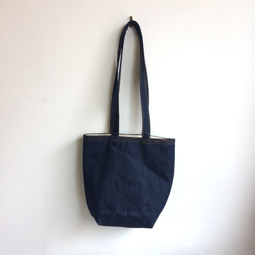 Dark Raw Denim Tote Bag