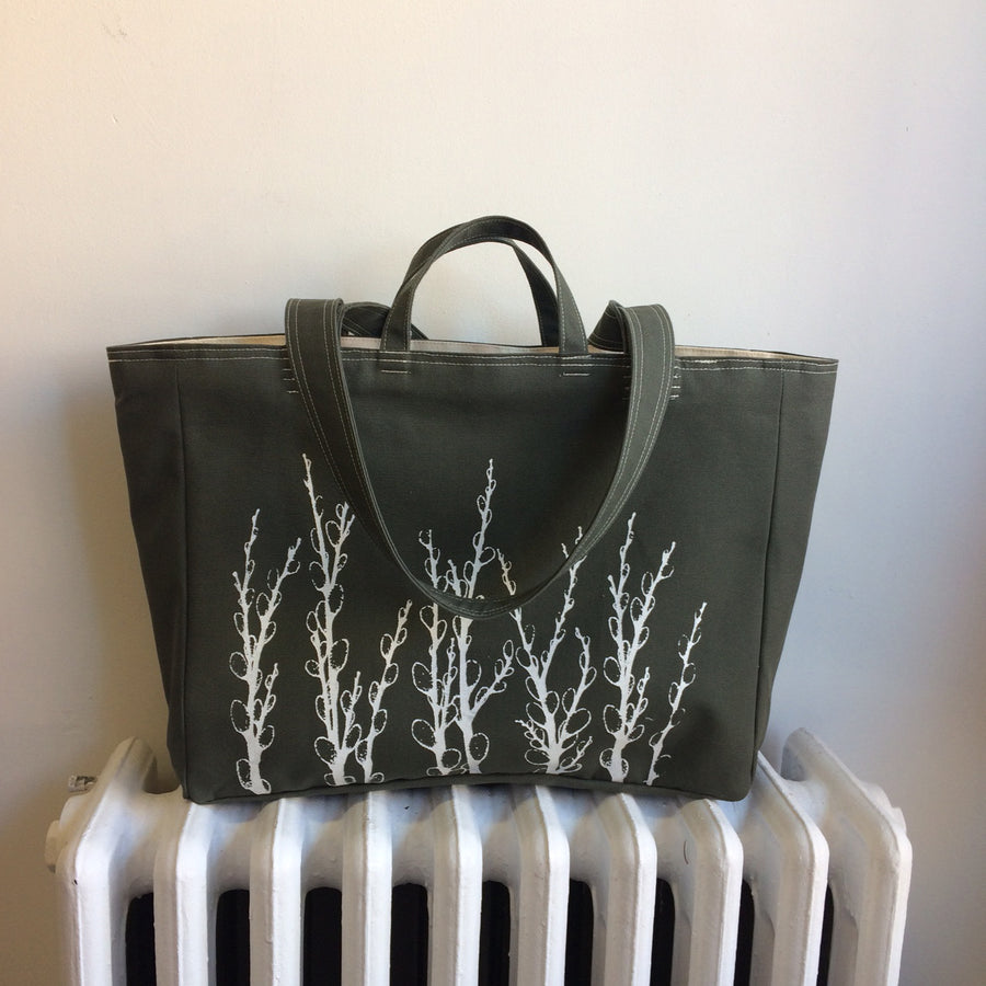 Olive Green Weekender Bag Pussy Willows