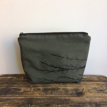 Olive Green Travel Pouch Pussy Willows