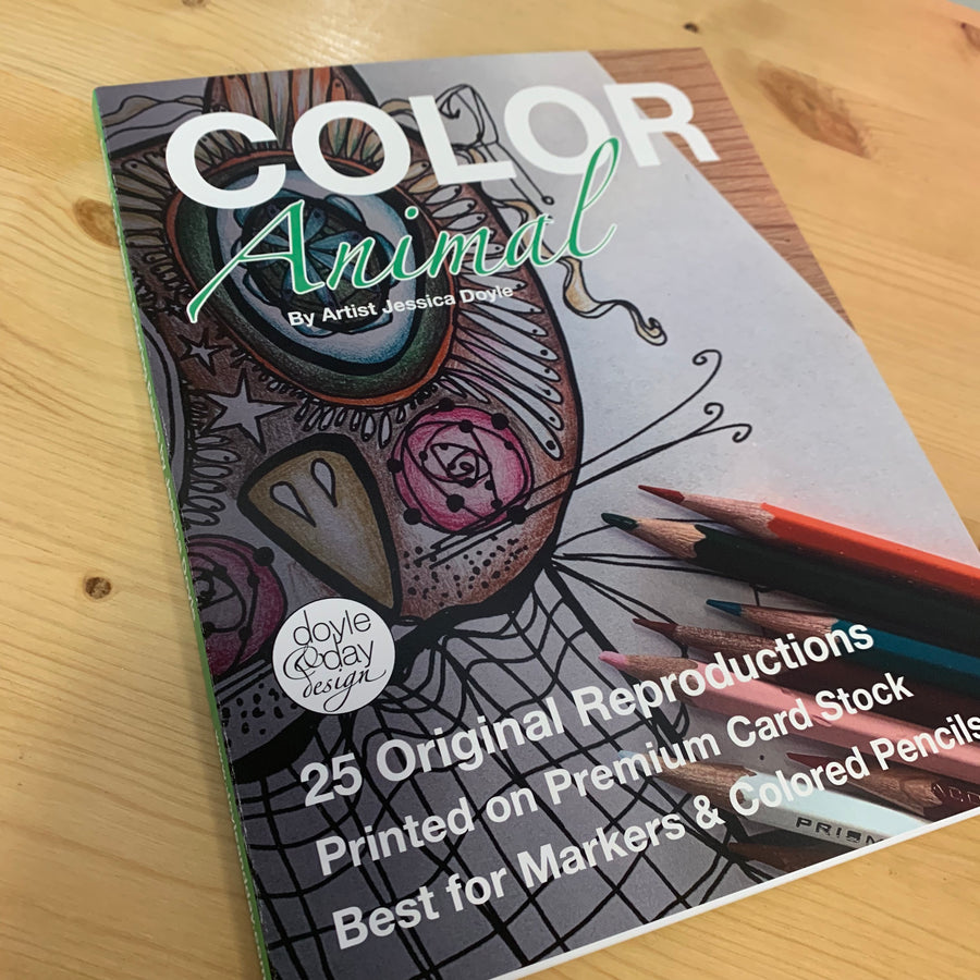Color Animal - 25 page adult coloring book - Fantastic Line Art