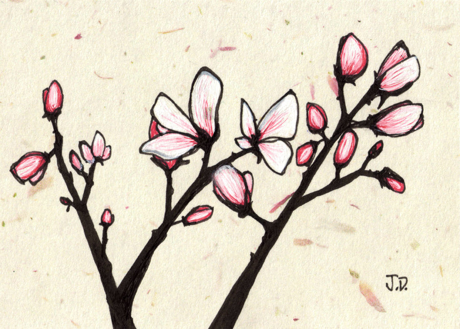 Magnolia Blossom art in beige and pink. Tree art by artist Jessica Doyle. Springtime art. Art for your walls.