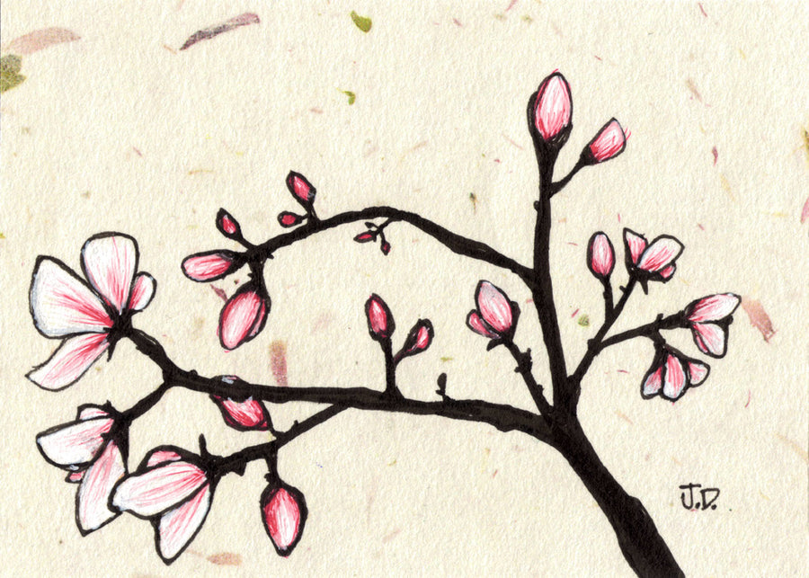 Magnolia Blossom art in beige and pink. Tree art by artist Jessica Doyle. Art for your walls.
