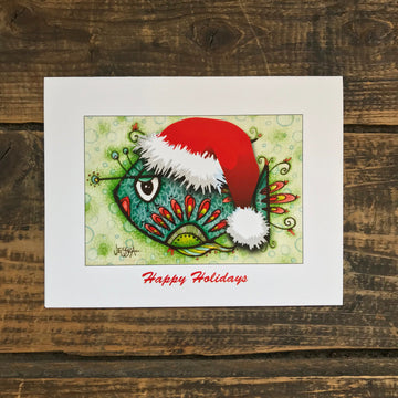 Milton the Fish with Santa Hat Note Card