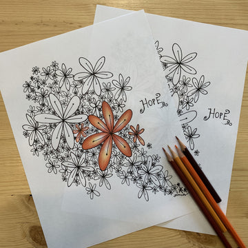 Hope Floral Coloring Page for Adults or Children PDF Digital Download