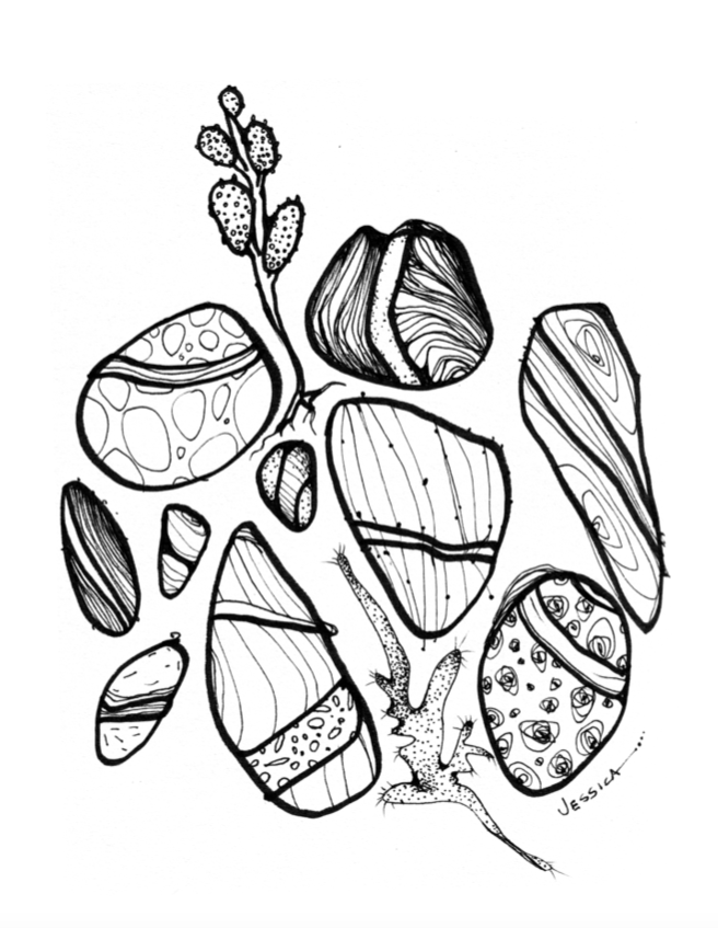 Wish Rocks - digital print download colouring page
