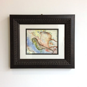 Framed seahorse art watercolour jessicadoyle sealife illustration