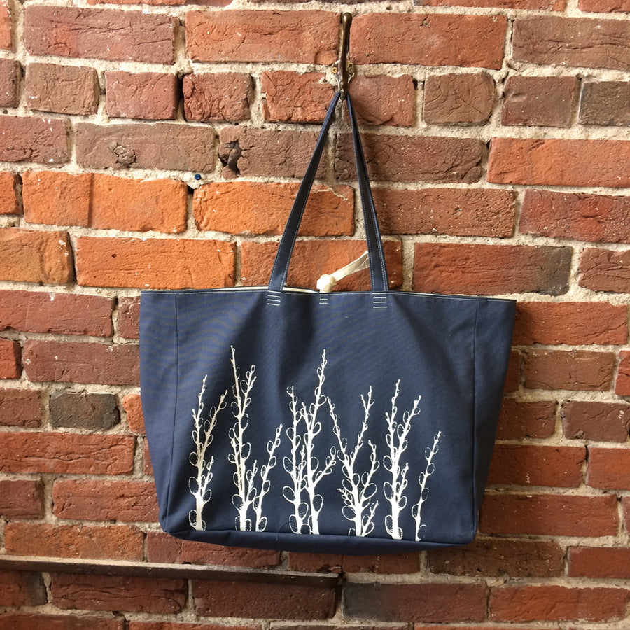Slate Blue Shoulder Bag with Pussy Willows