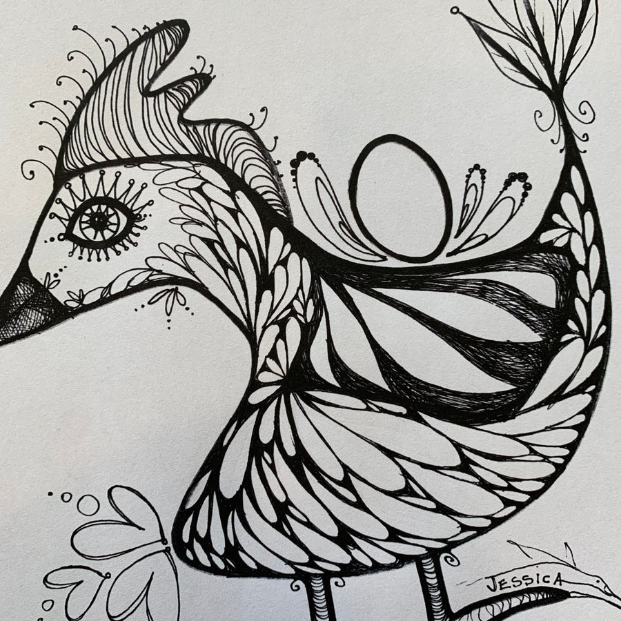 Chicken with Egg Colouring Page for Adults or Children, Digital Download, PDF Printable