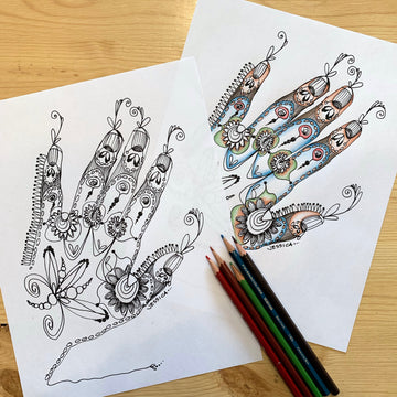Hand with Henna Colouring Page for Adults or Children, Digital Download, PDF Printable