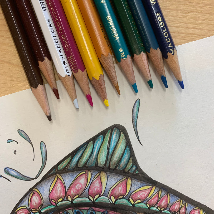 Fish Bones - Original Ink Drawing with Coloured Pencil