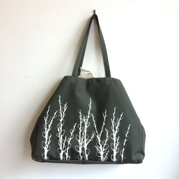 Olive Green Shoulder Bag with Pussy Willows