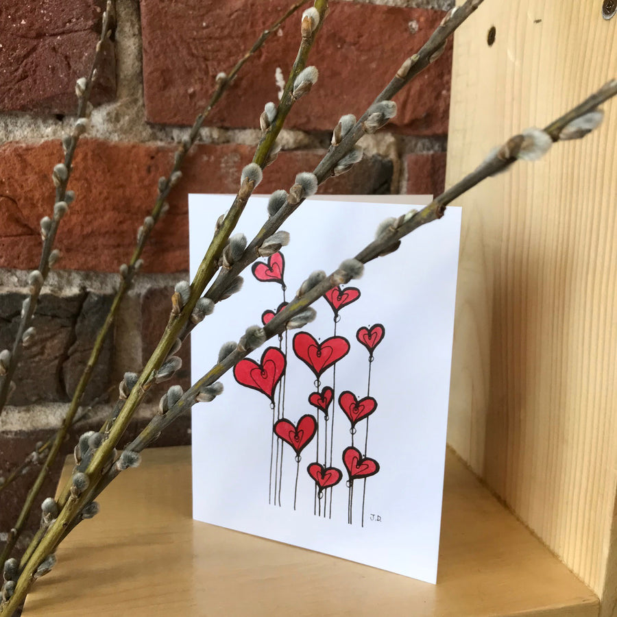 Hearts on Strings Note Card