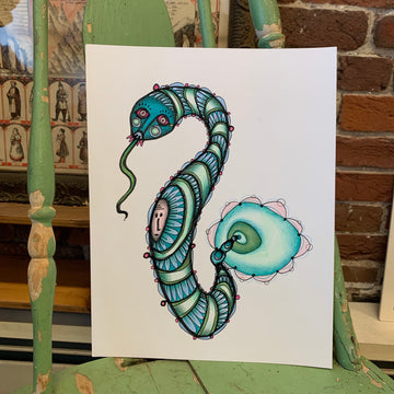 snake charmer art by Jessica Doyle, illustration, green, blue, weird