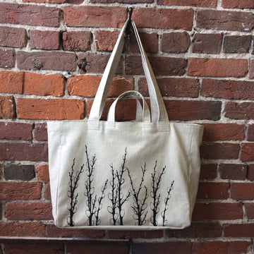 Handmade weekender bag with screenprinted original pussy willow art by Doyle & Day. We ship worldwide!