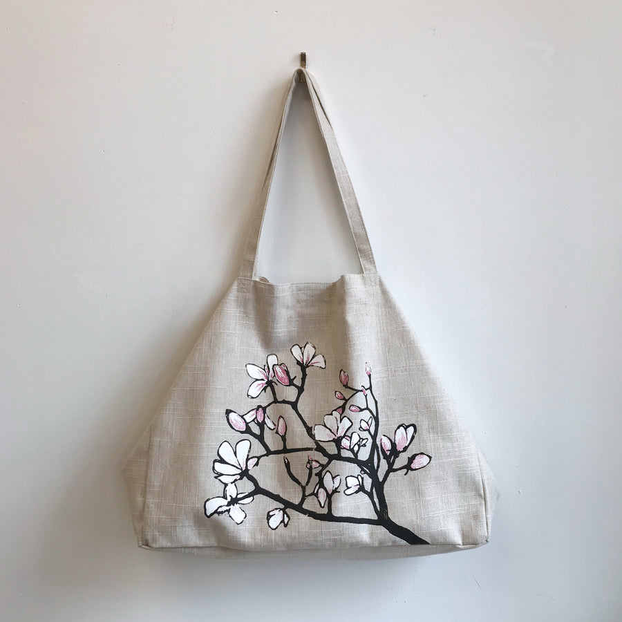 Linen Shoulder Bag with Magnolia