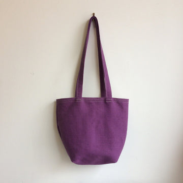 Purple Linen Tote Bag