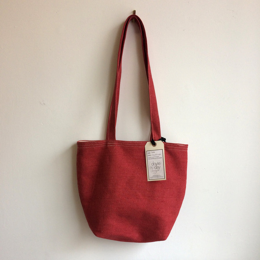 Red Linen Tote Bag