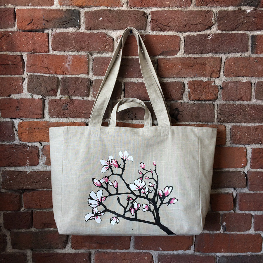 Linen Weekender Bag with Magnolia