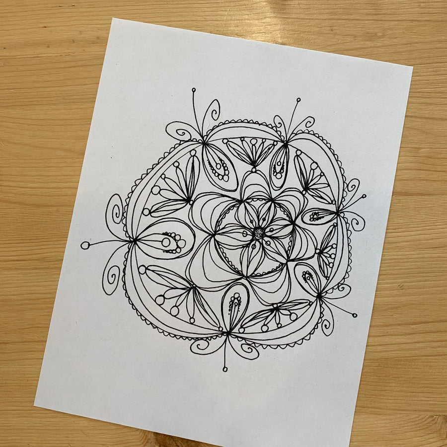 Cute Mandala Coloring Page for Adults PDF Printable stock illustration, Printable art