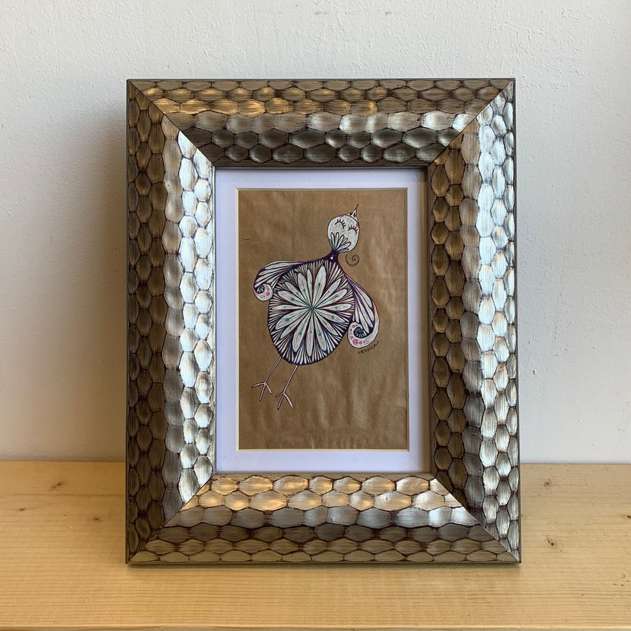 bird art, framed art, bird drawing, floral, picture frame, mat, jessicadoyle,