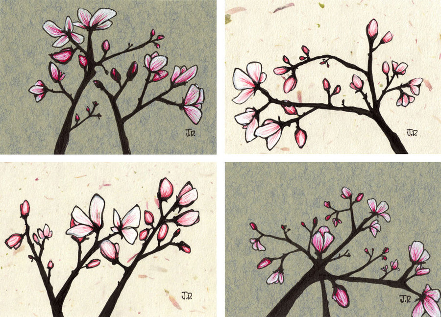 Magnolia Blossom art by artist Jessica Doyle. Set of 4 art prints. Wall art in Pink and Grey