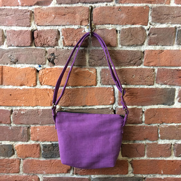 Purple linen crossbody bag by Doyle & Day in Saint John, NB, Canada
