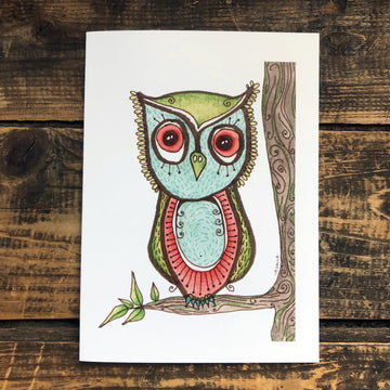 Jessica the Inquisitive Owl Greeting Card