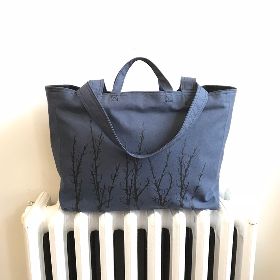 Slate Blue Weekender Bag Pussy Willows