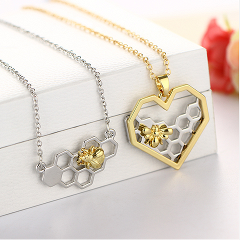 Honey Bee Heart Necklace Gold/Silver