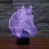 3D LED Horse Illusion Lamp 7 Different Color Display