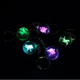 5pcs/Lot 3D Crystal Pokeball Key Chain With Engraved Pokemon Inside With Colorful LED Lights