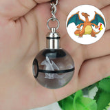3D Crystal Pokeball Key Chain With Engraved Pokemon Inside With Colorful LED Lights