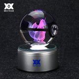 3D Crystal Pokeball With Engraved Pokemon Inside With LED Colorful Base