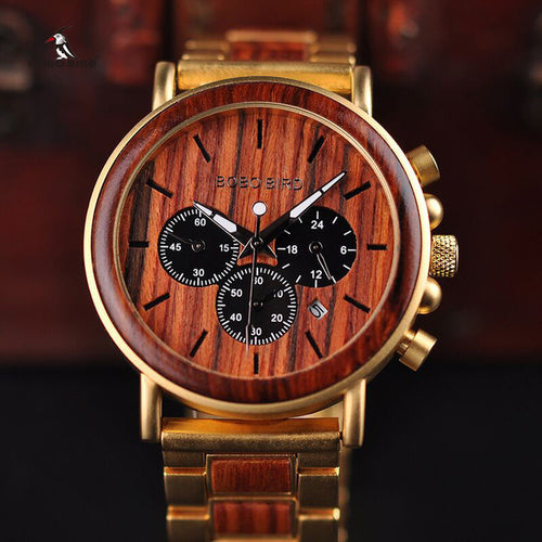 Luxury Wooden Gold Color Watch For Men - Man Cave Hive