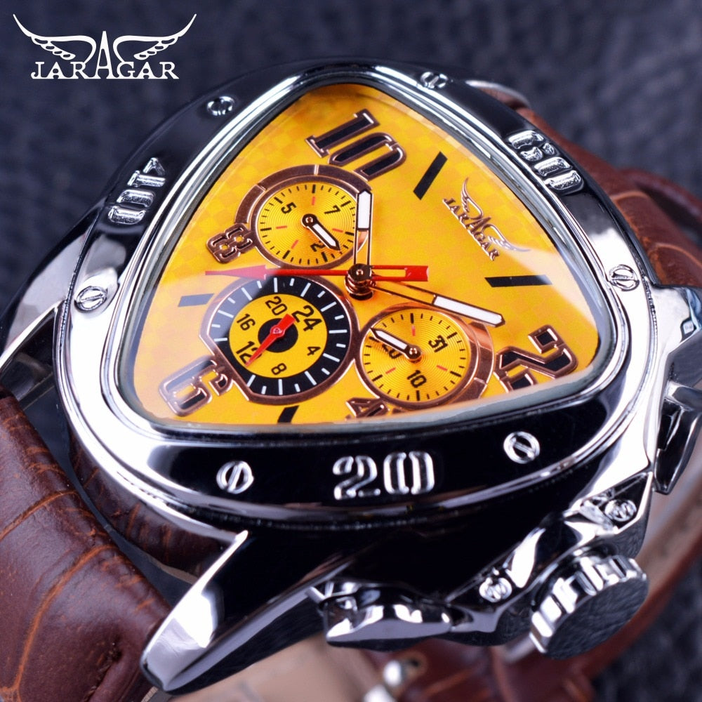 Fashion Design Geometric Triangle Case Brown Leather Strap 3 Dial Men's Watch - Man Cave Hive