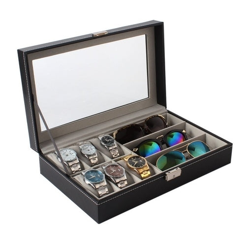 PU Leather 6+3 Watches & Sunglasses Storage Case - Man Cave Hive