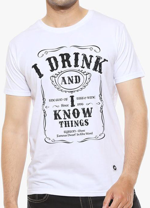 I Drink and I know Things - White Men's T Shirt - Man Cave Hive