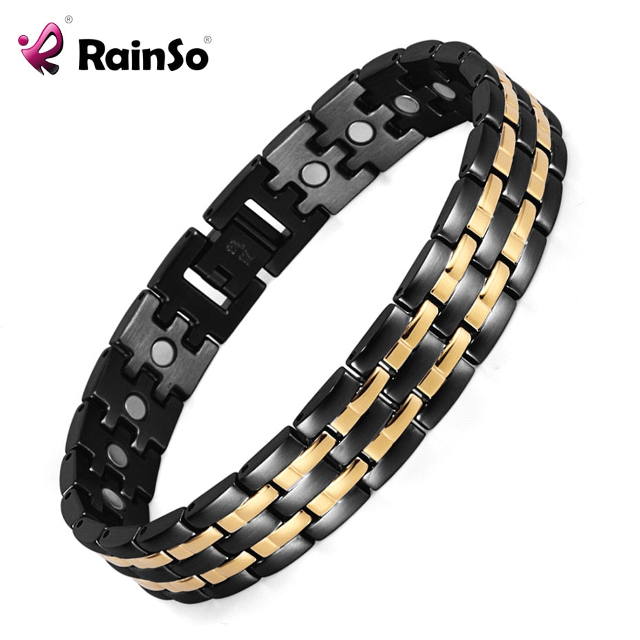 Mens Hand Chain Link Bracelet Black plated Bio Energy Stainless Steel - Man Cave Hive