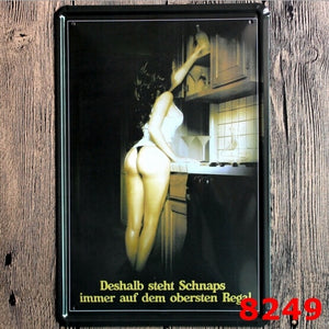 Sexy Girl Bending Beer Man Cave Vintage Tin Sign 20x30CM - Man Cave Hive