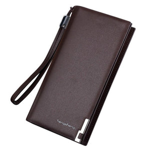 Long Bifold Business Leather top brand wallet men - Man Cave Hive