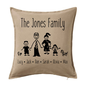 Personalised Cushion - Stick Family
