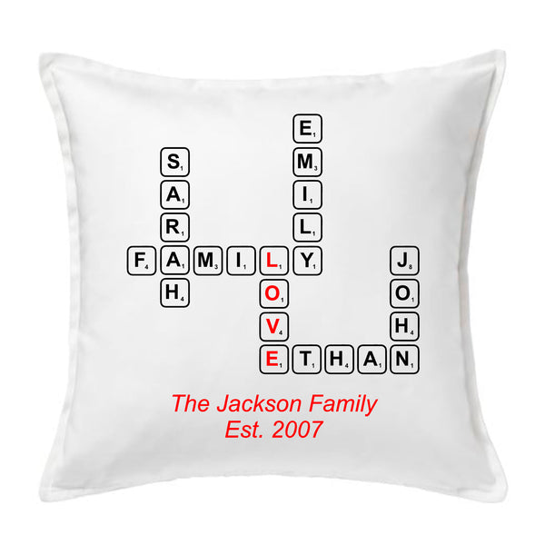 Scrabble Tile Family Name - Personalised Cushion
