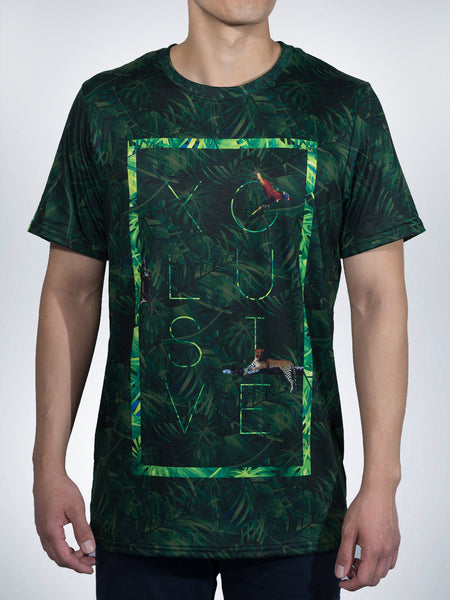 Jungle Xclusive mens crew tee shirt tropical animal amazon green sport