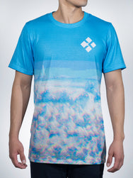 Wavy Clouds Xclusive crew tee shirt retro EDM TRIPPY vapor wave
